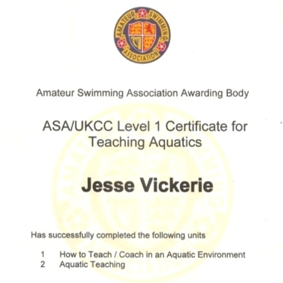 ASA / UKCC LEVEL 1 - AQUATIC TEACHING, cOACH IN AN AQUATIC ENVIRONMENT