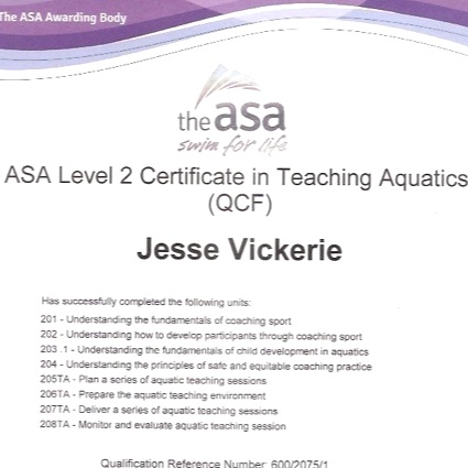 ASA LEVEL 2 - TEACHING AQUATICS (QCF)