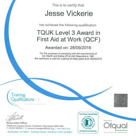 TQUK LEVEL 3 AWARD - FIRST AID AT WORK (QCF)