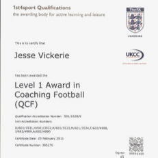 FOOTBALL COACHING - AWARD IN COACHING FOOTBALL, LEVEL 1