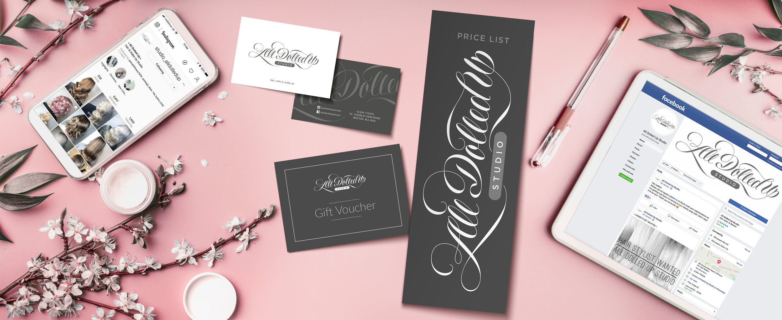 Brand logo for All Dolled Up hair studio, with marketing promotional items