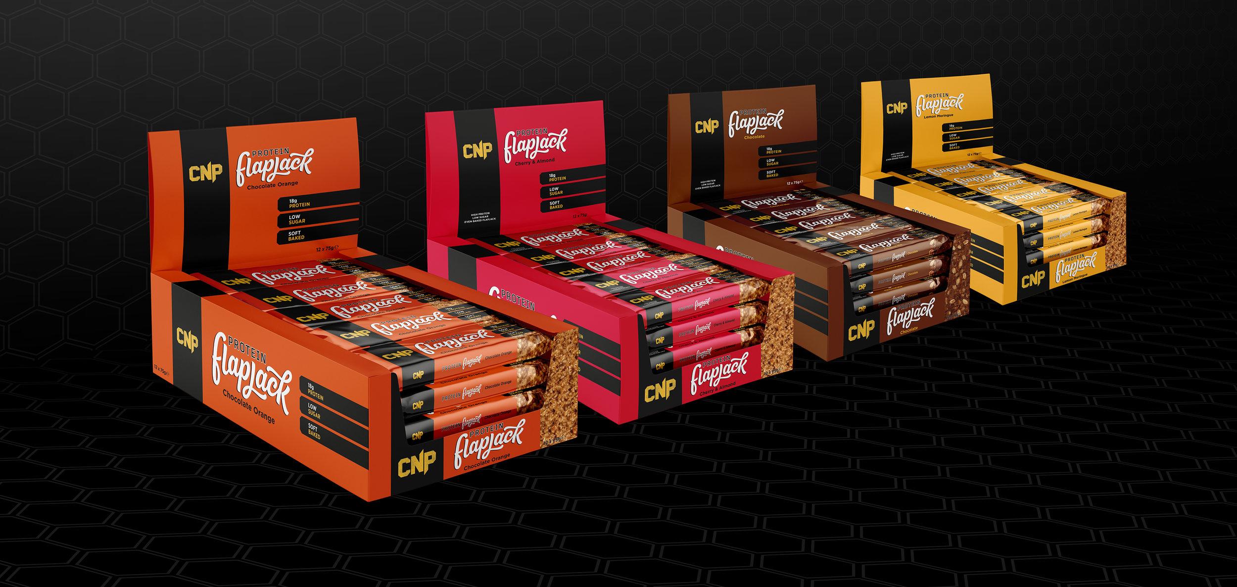 CNP Protein Flapjack Retail Box Design