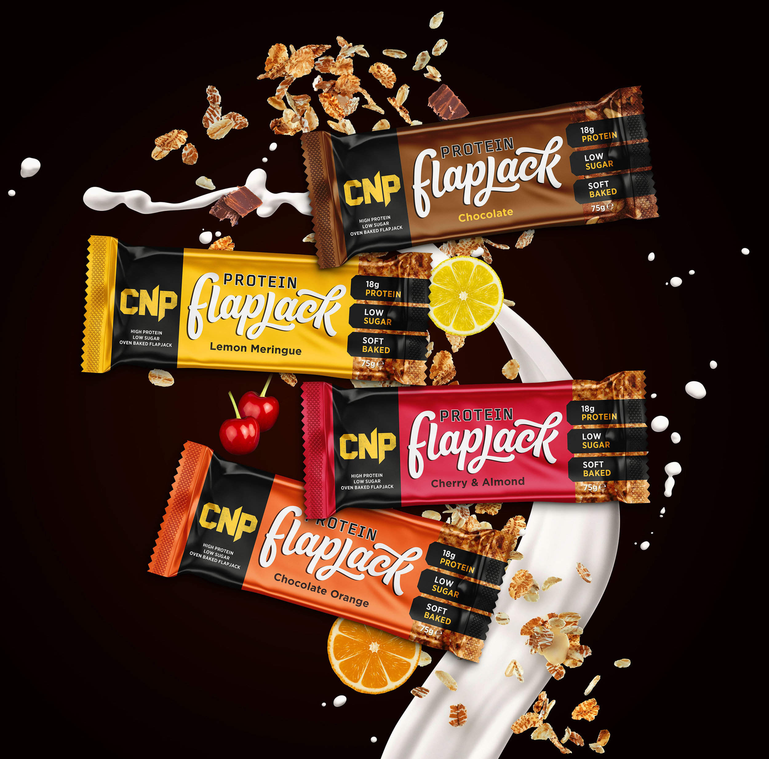 Re-Brand for the CNP protein flapjack bar in four flavours