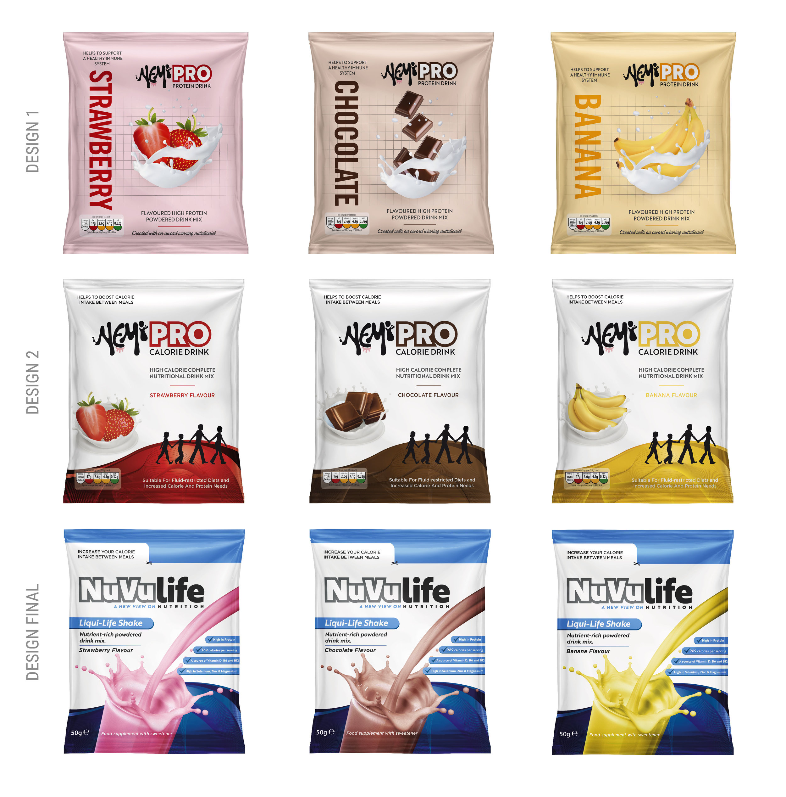NuVulife Nutritional shake drink. Design concepts through to the chosen design.