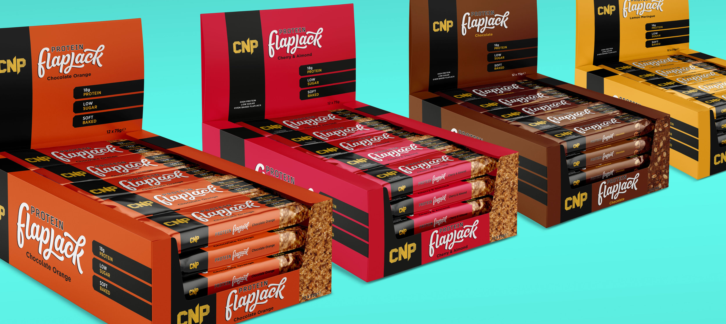 CNP Protein flapjack counter display packaging - 3D mock ups
