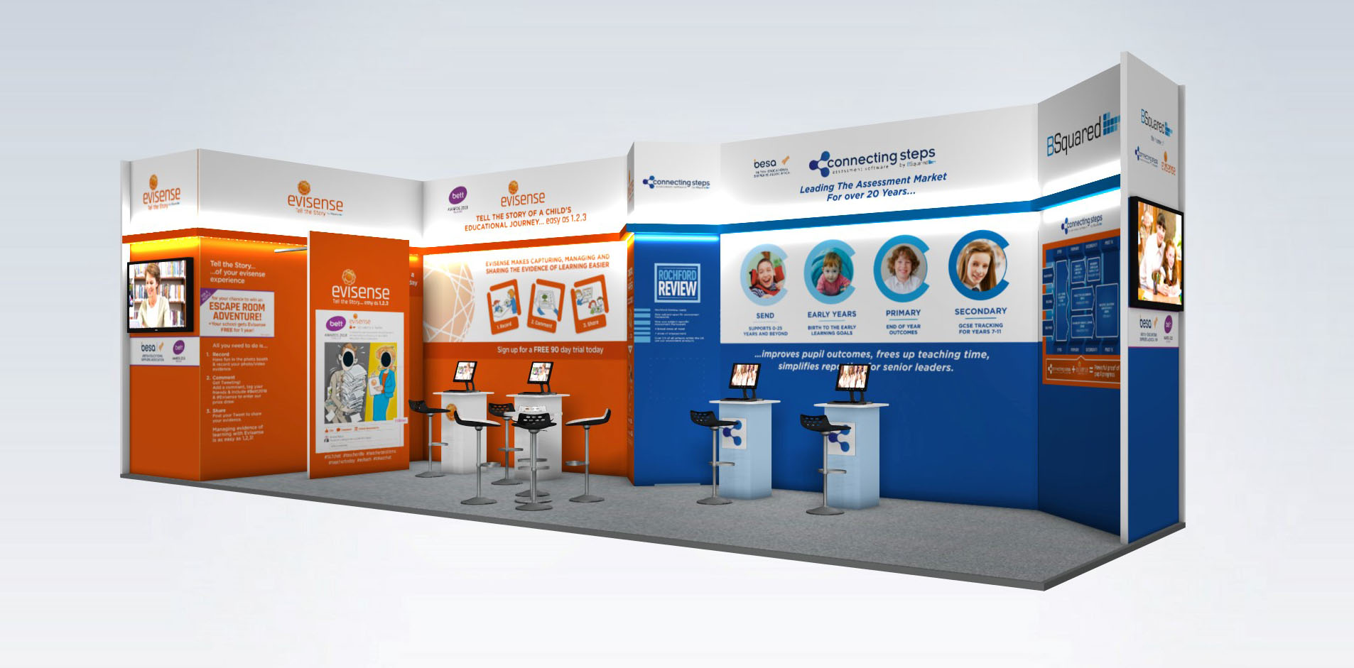 BSquared stand design visual for the Bett Show 2018