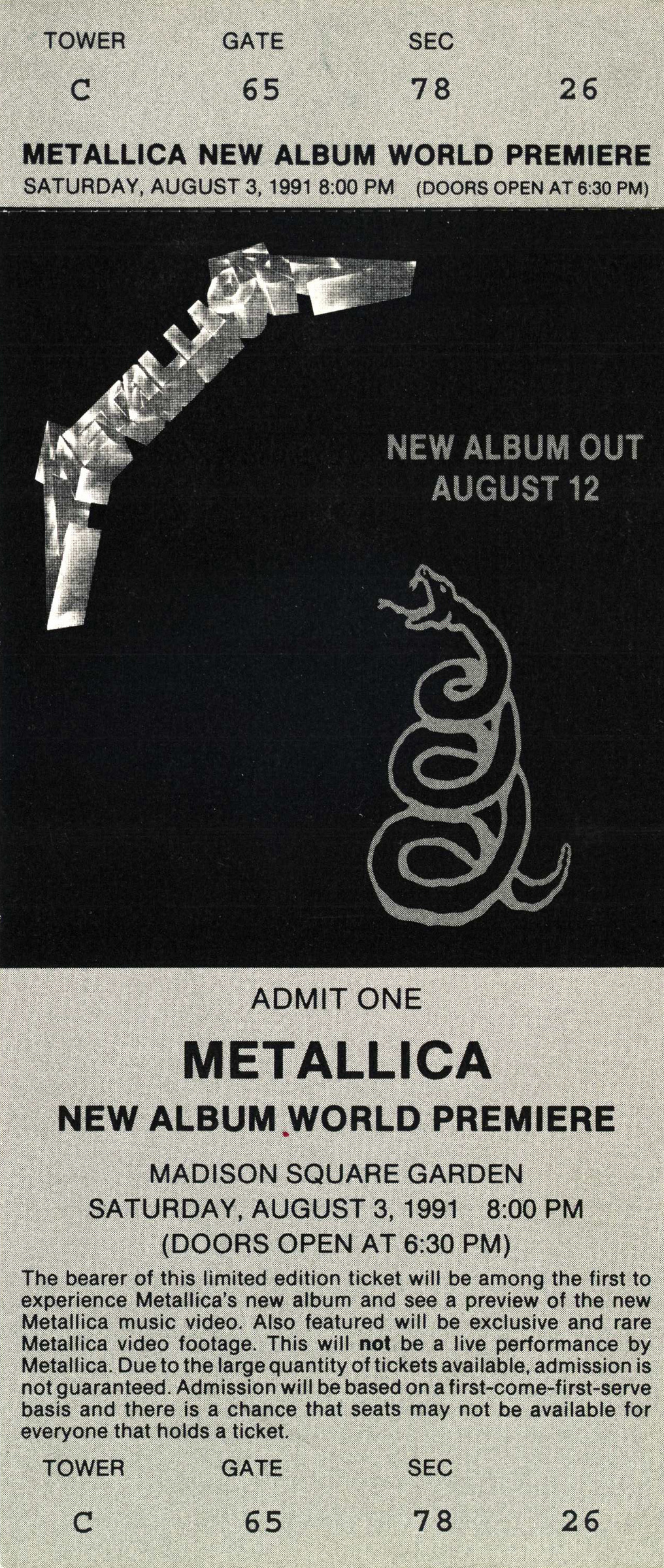 Metallica New Album World Premier 1991