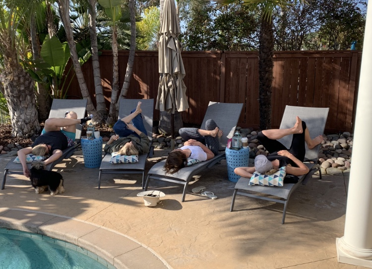 Inverted hip openers & poolside yorkie yoga.