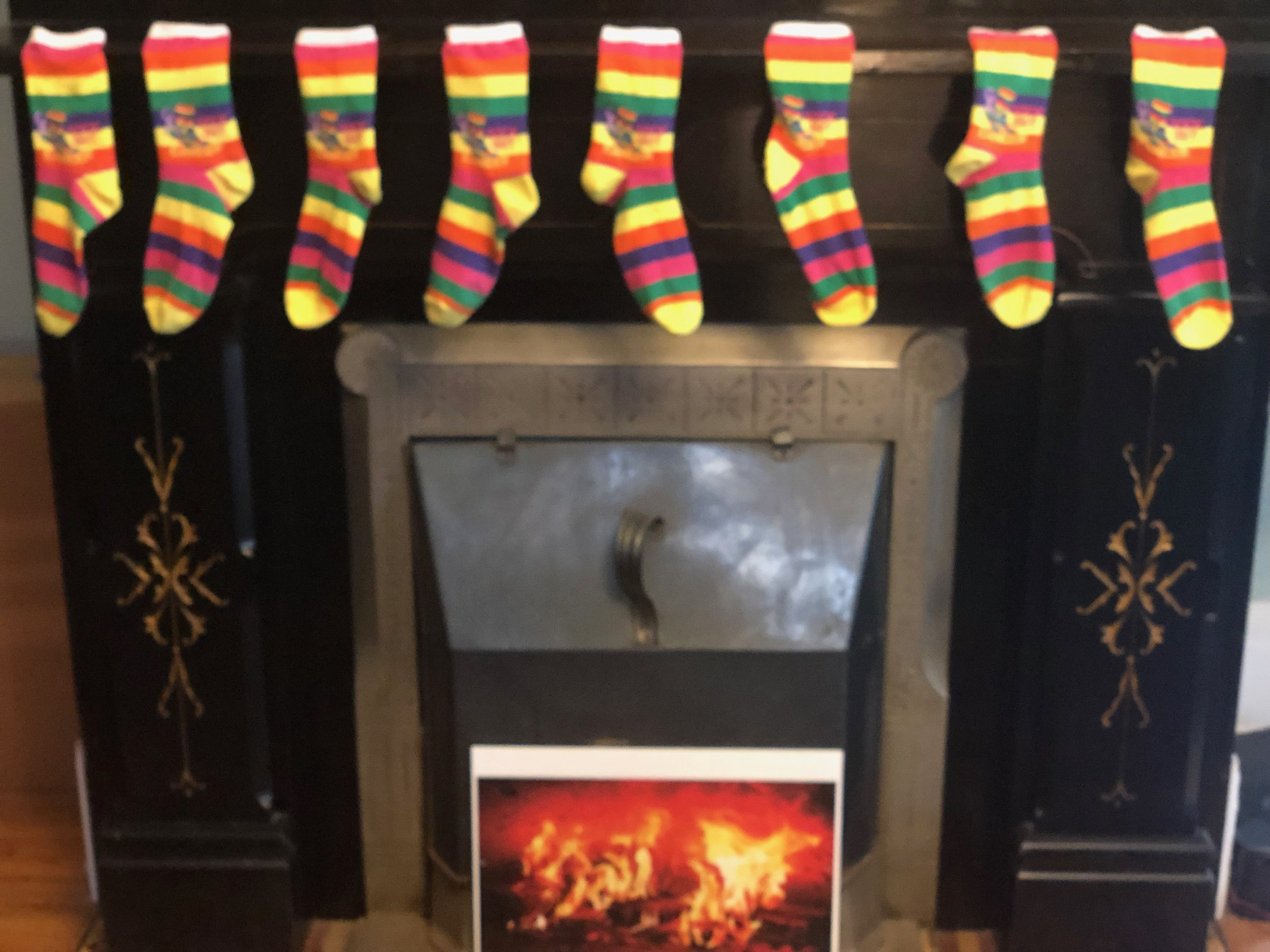 Sock Out Cancer Socks Hanging on Fireplace