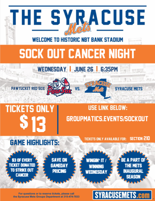 Sock Out Cancer Night at the Syracuse Mets