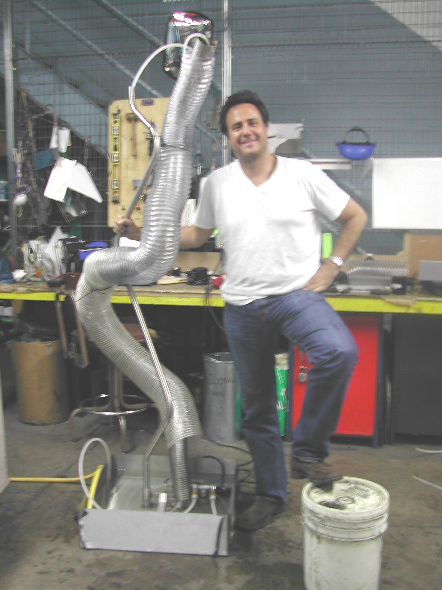 Michael Gitter Working on FlexTube Fountain.  WATCH VIDEO . Photo: Ken Goldberg