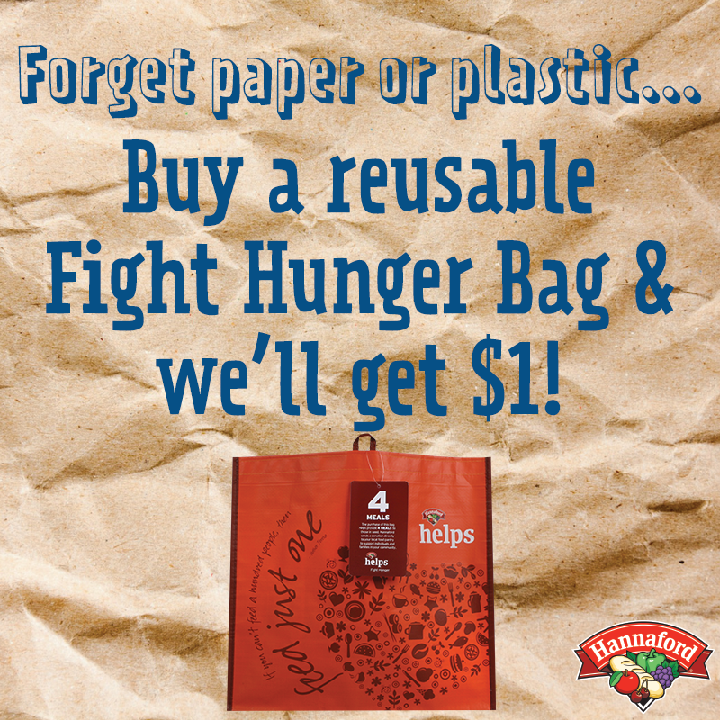 Reusable bags - This money will go to the backpack program! 80+ elementary school children are provided with a bag of food each weekend, when they are not receiving free breakfast and lunch at school.