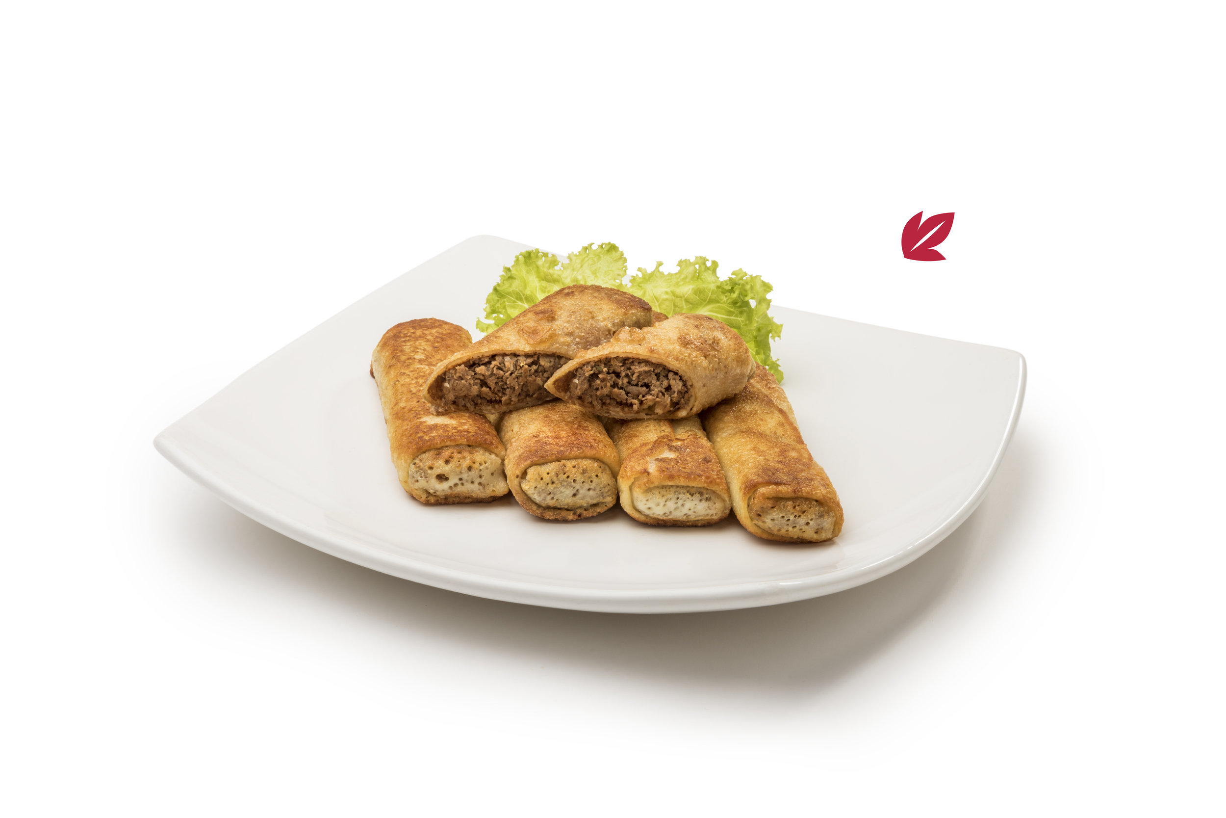 Blinch - Rolls de filloa dorados a la plancha relleno de carne cocida la vapor, procesado y condimentado. Porción de 4 unidades.$340