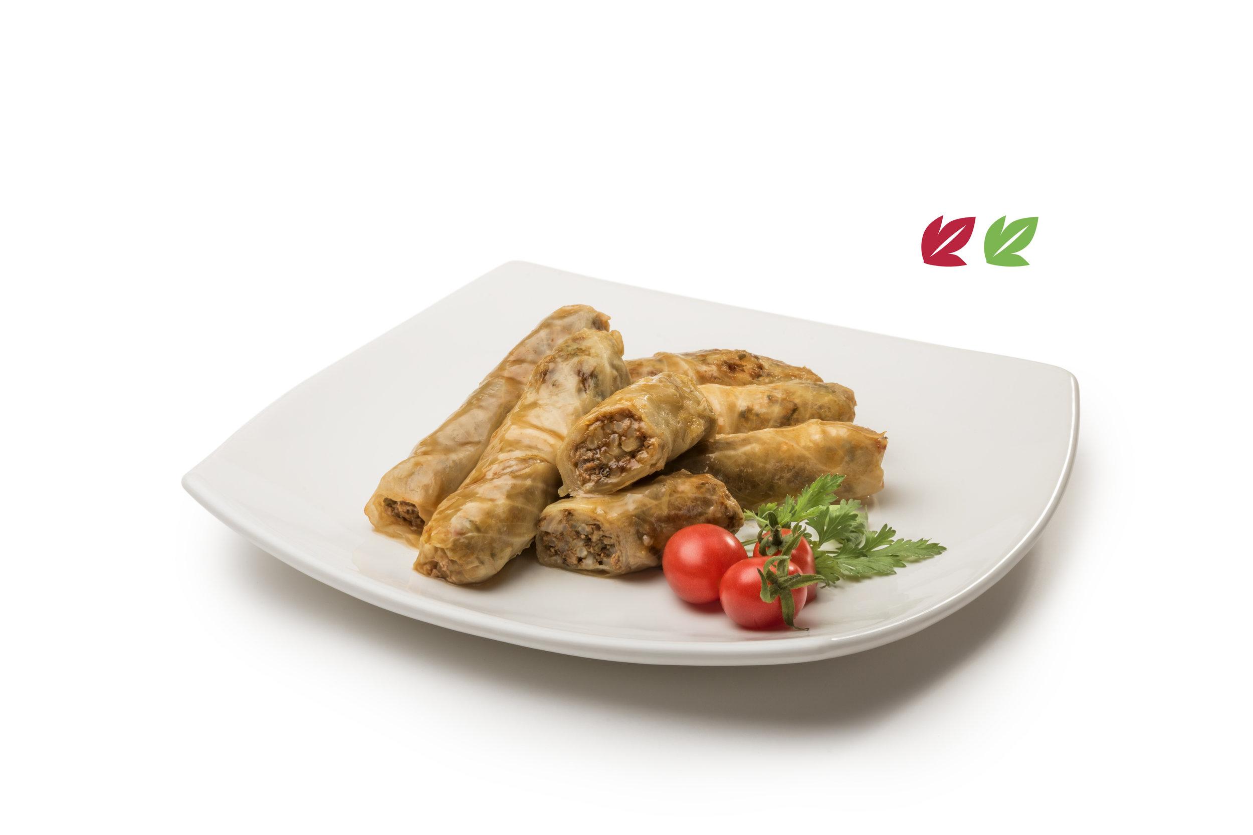 Sarmá - Relleno elaborado con carne y arroz, condimentado, envuelto en hoja de repollo. Porción de 6 unidades.Opción vegana con legumbres y arroz integral$380 / $340