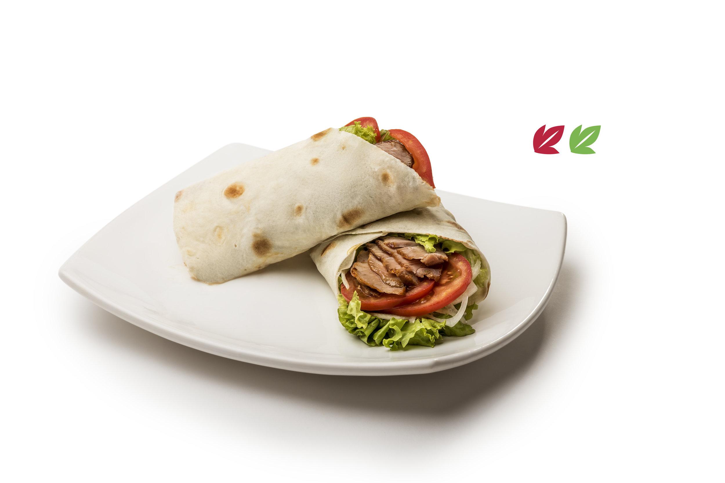 Shish al pan - Pincho de carne, pollo o cerdo en pan Lavash, relleno con lechuga, tomate, cebolla y mayonesa.Opción vegana con Falafel y Homus$340