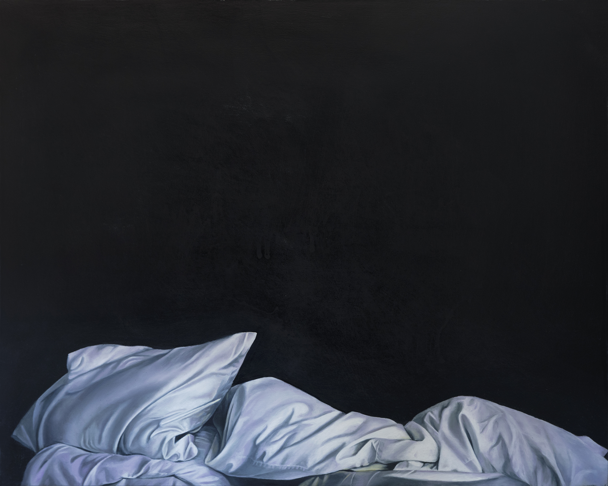 """I like the crispness of the imagery and Stephanie's painterly choices in her application of pigment. The unmade beds theme is universally approachable yet so open to interpretation. The work demands self reflection and empathy. I am attracted to the sensual movements of the lines, yet feel a simultaneous sad calmness."" - Stephanie Serpick, Marloe Gallery"