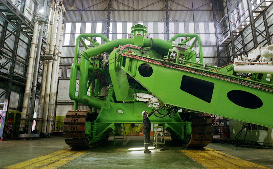 One of Debmarine Namibia's crawlers at a dry dock in Cape Town for servicing. (Source:    http://wearesunday.com/news/de-beers-photoshoot-different-scale/   )