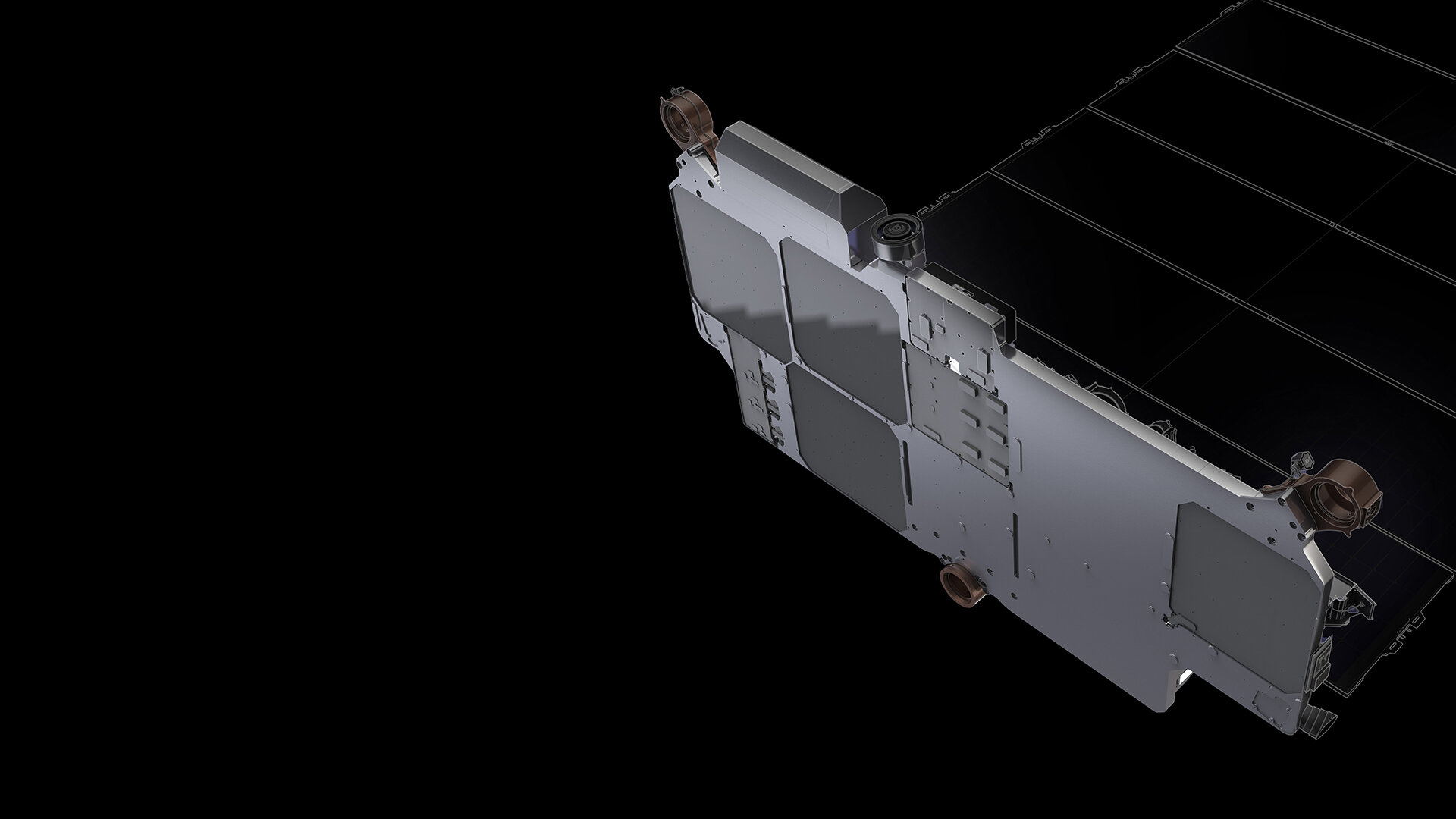 Starlink's 4 phased array antennas, which communicate with Earth via ground stations (Image: SpaceX)