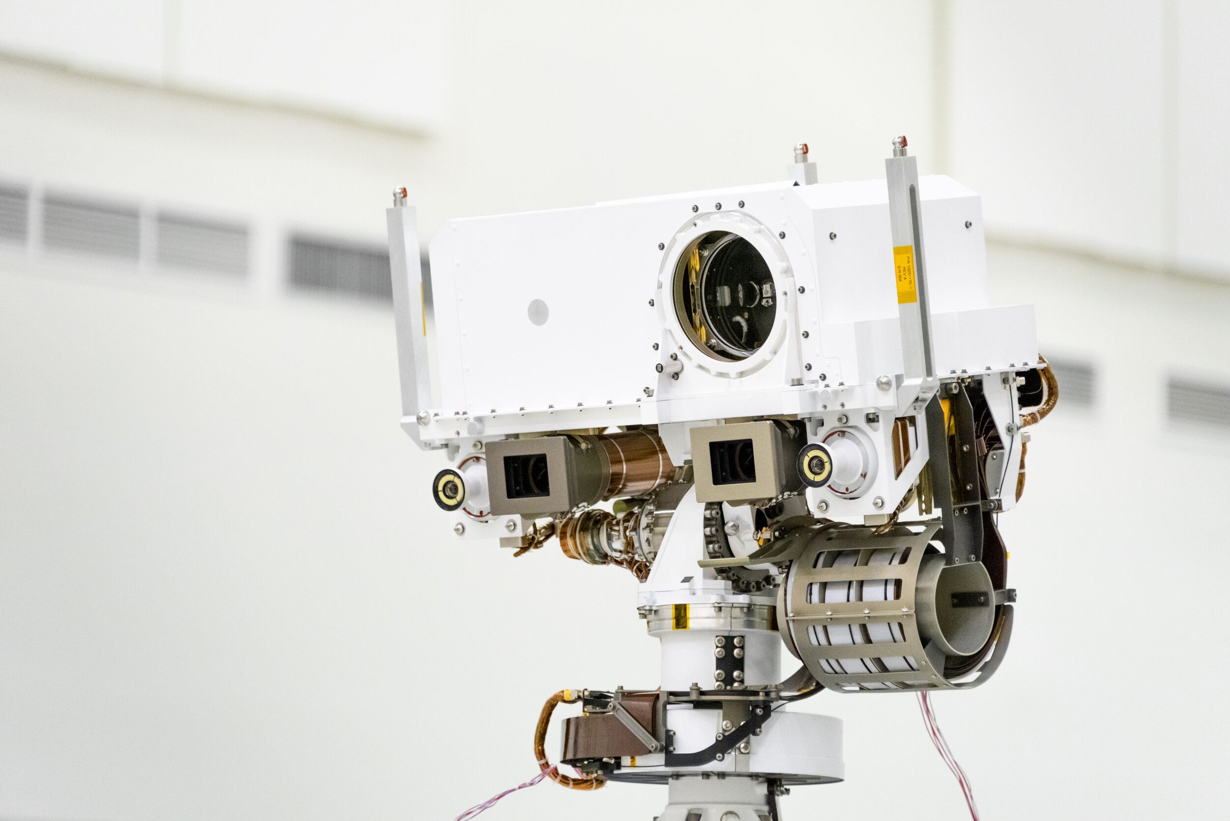 Image credit: NASA. This image, taken in the Spacecraft Assembly Facility's High Bay 1 at the Jet Propulsion Laboratory in Pasadena, California, on July 23, 2019, shows a close-up of the head of Mars 2020's remote sensing mast.