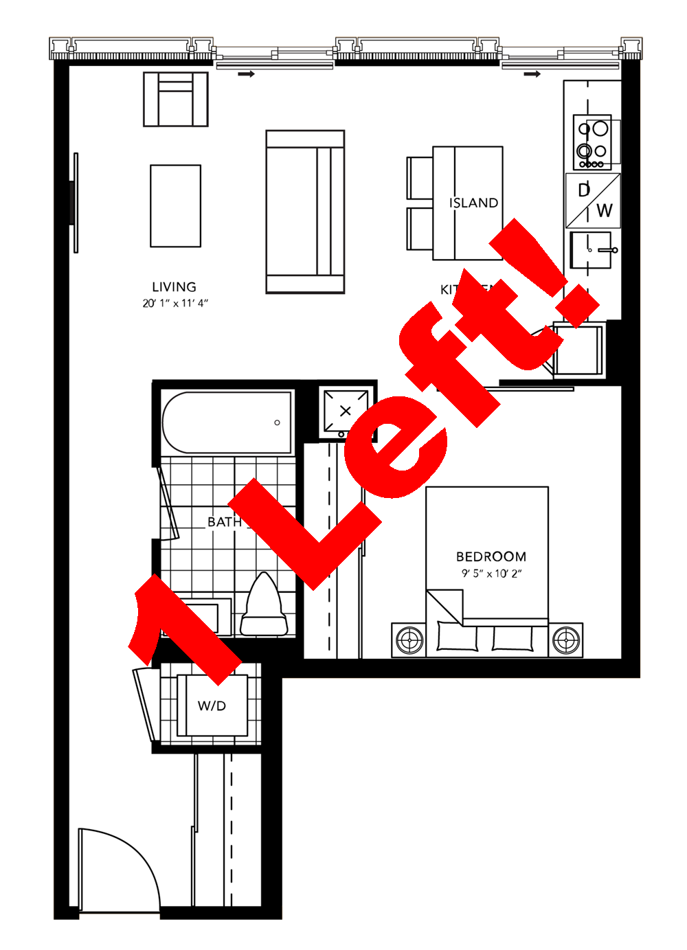 One Bedroom Layout - 1 Left.png