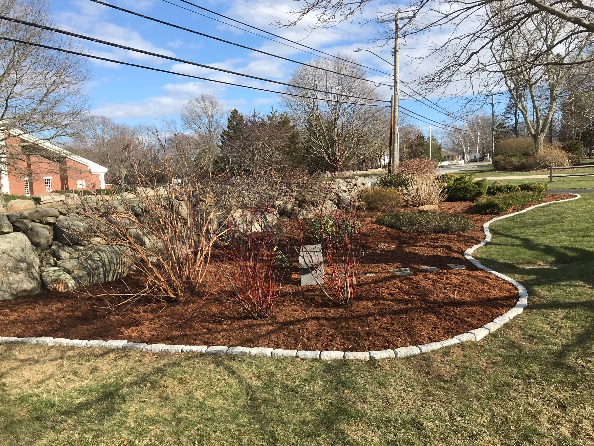 Belgian Block Installation with Mulching - After