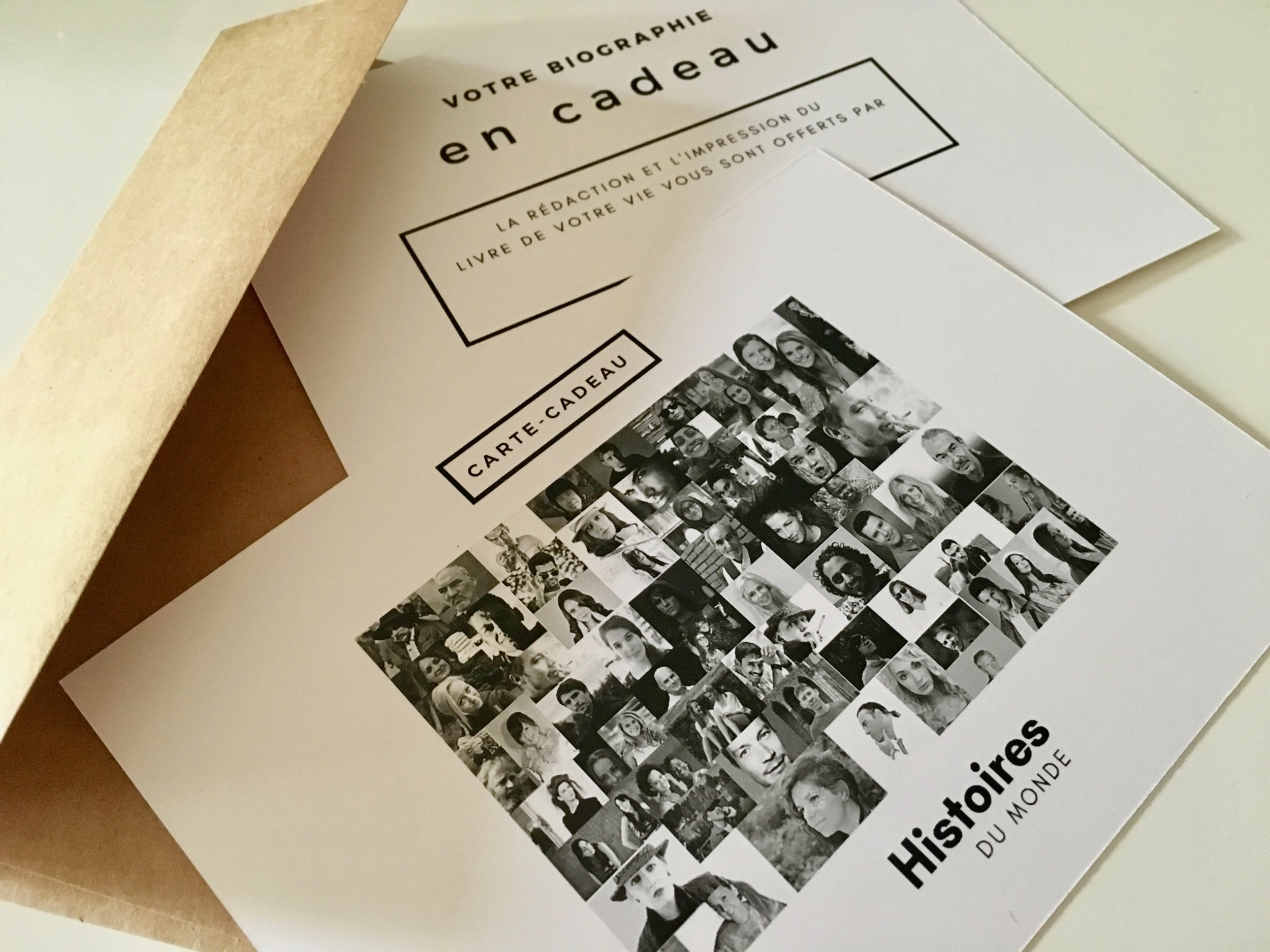 Cartes-cadeaux disponibles - Offrez la rédaction et l'impression d'une biographie en cadeau
