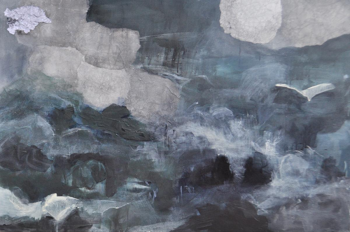 """Painting: """"Turbulence"""" by  Ananda   K  esler,  acrylic on canvas, 24""""x 36"""" Thumbnail on Poetry page: """"Turbulence, detail"""" by Ananda Kesler"""