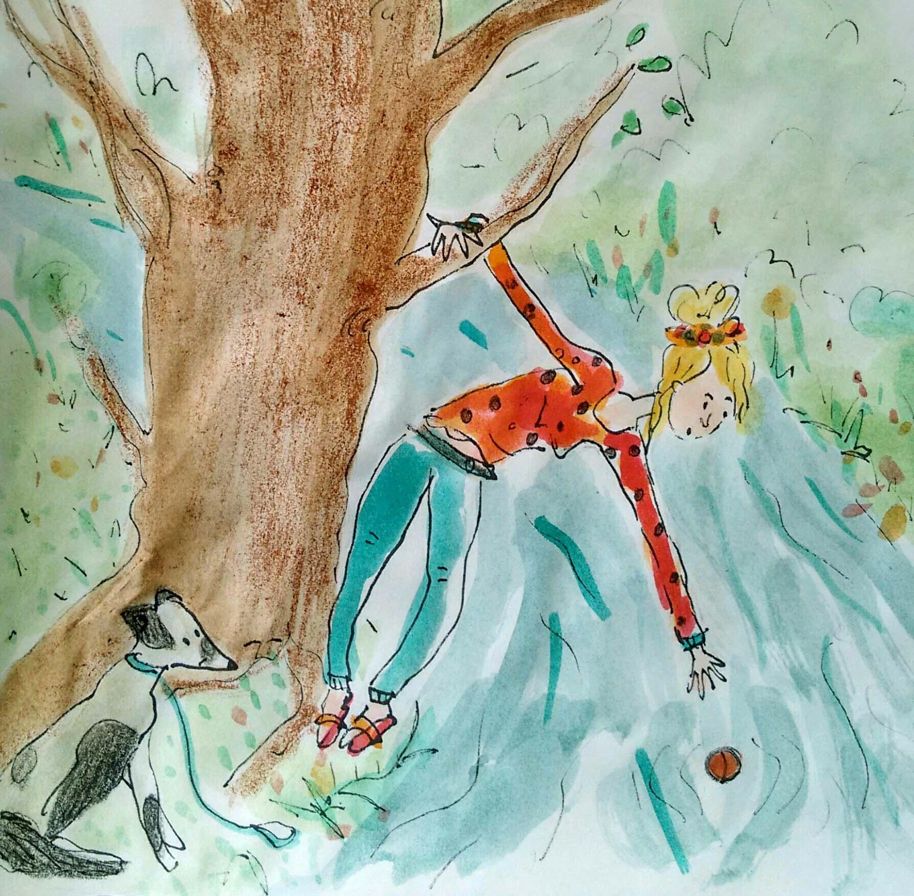 "Illustration: JItske Wadman, ""With the Dog of my Sister"""