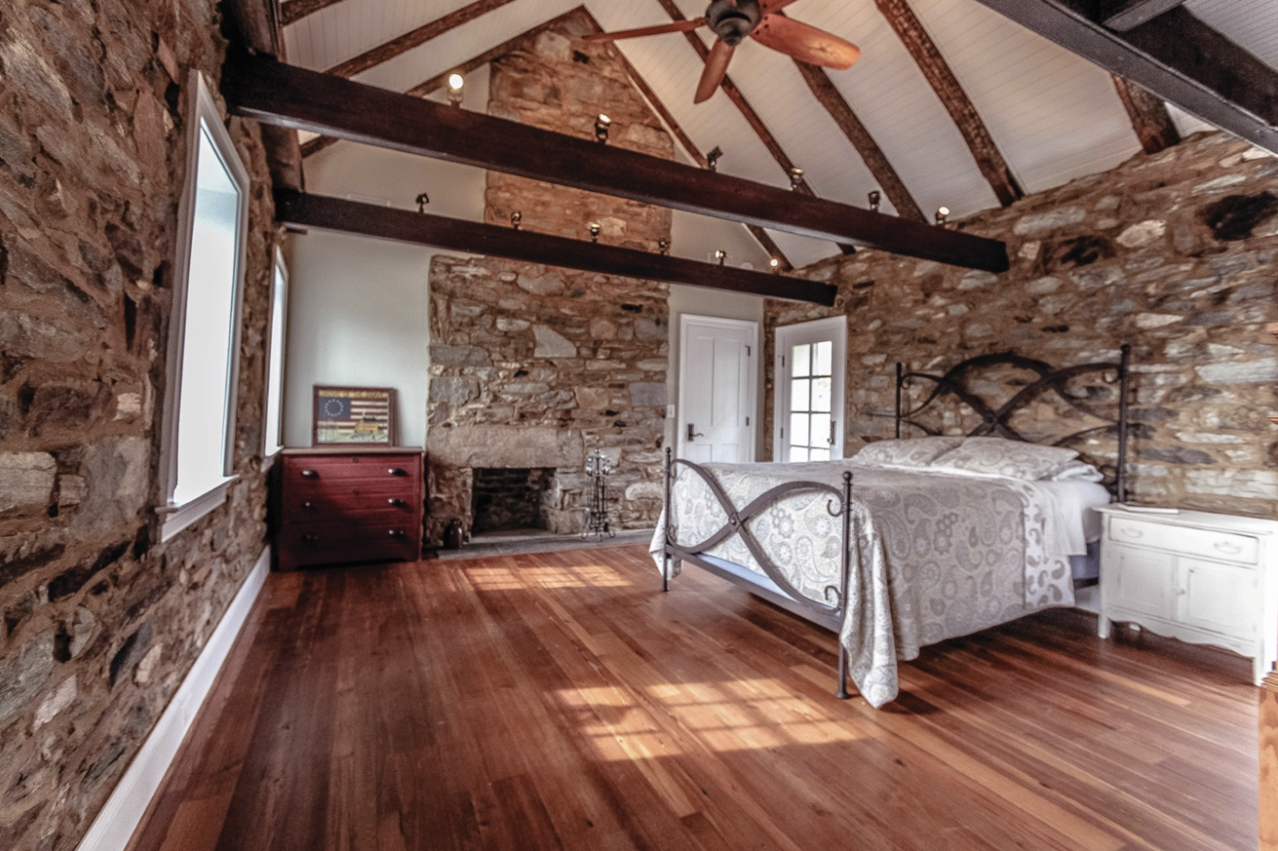 beautiful stone historic home bedroom renovation
