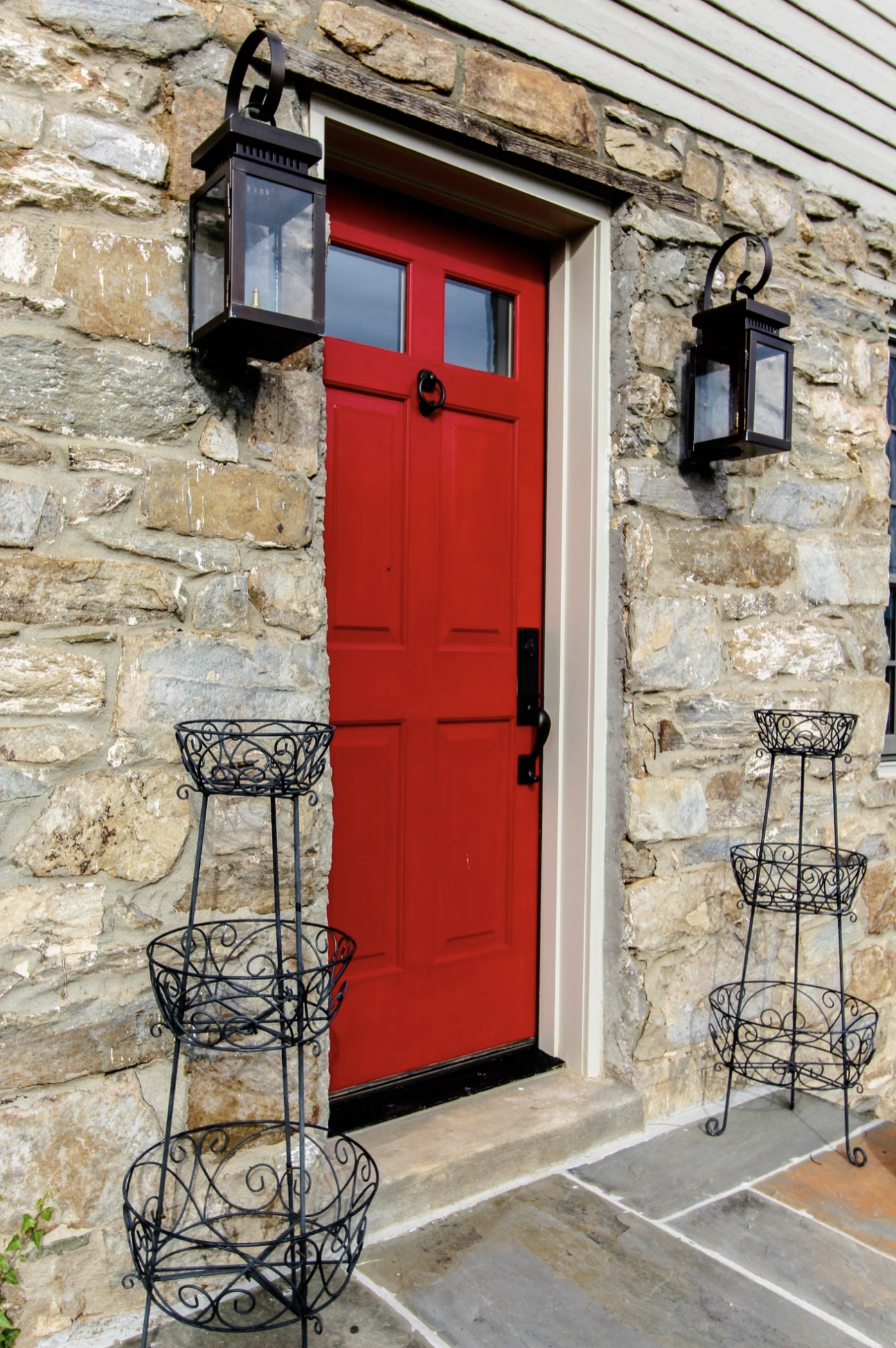 Bright Red Front Door on Historic Home Renovation