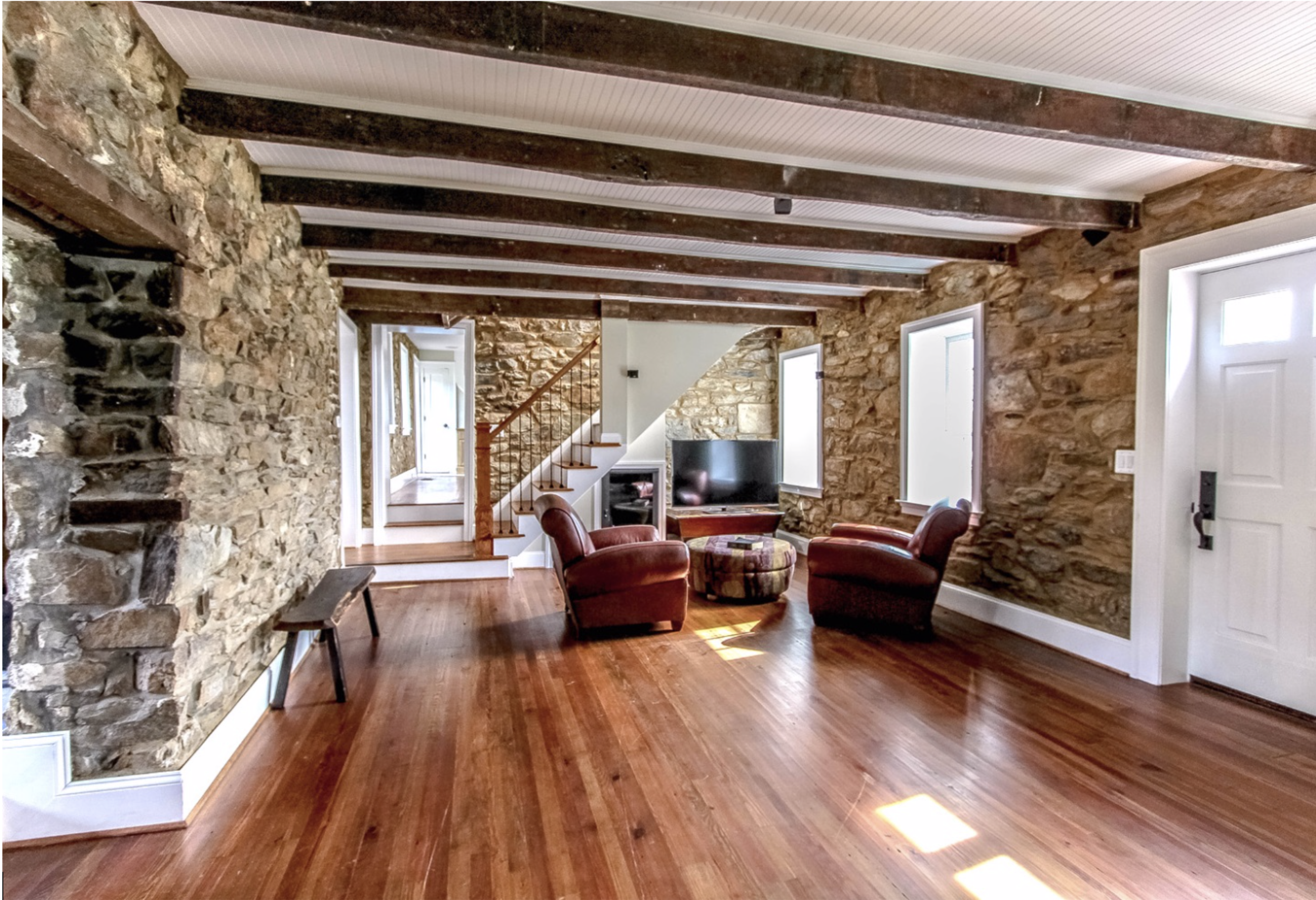 Historic Hillsboro Stone House Living Room After  Renovation Photo