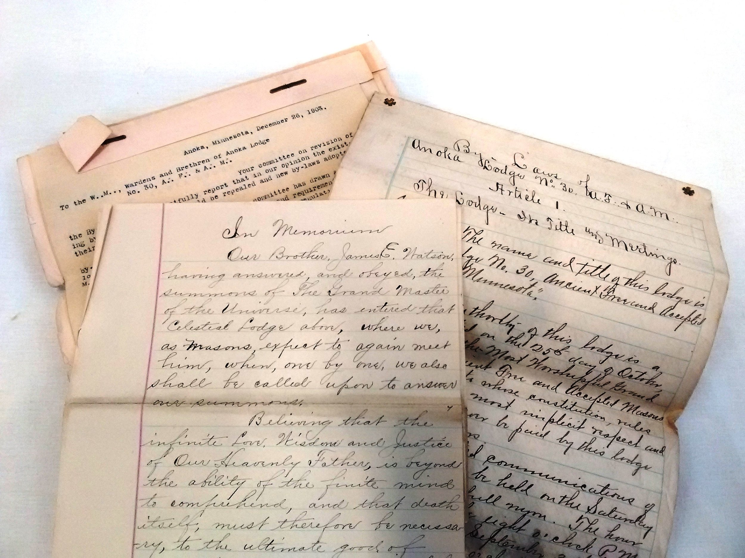 Documents from the Anoka Masonic Lodge collection.