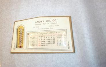 "Calendar, desk size for 1955 brown backing with cardboard base. ""Anoka Oil Co""  (object ID 1152.WW)"