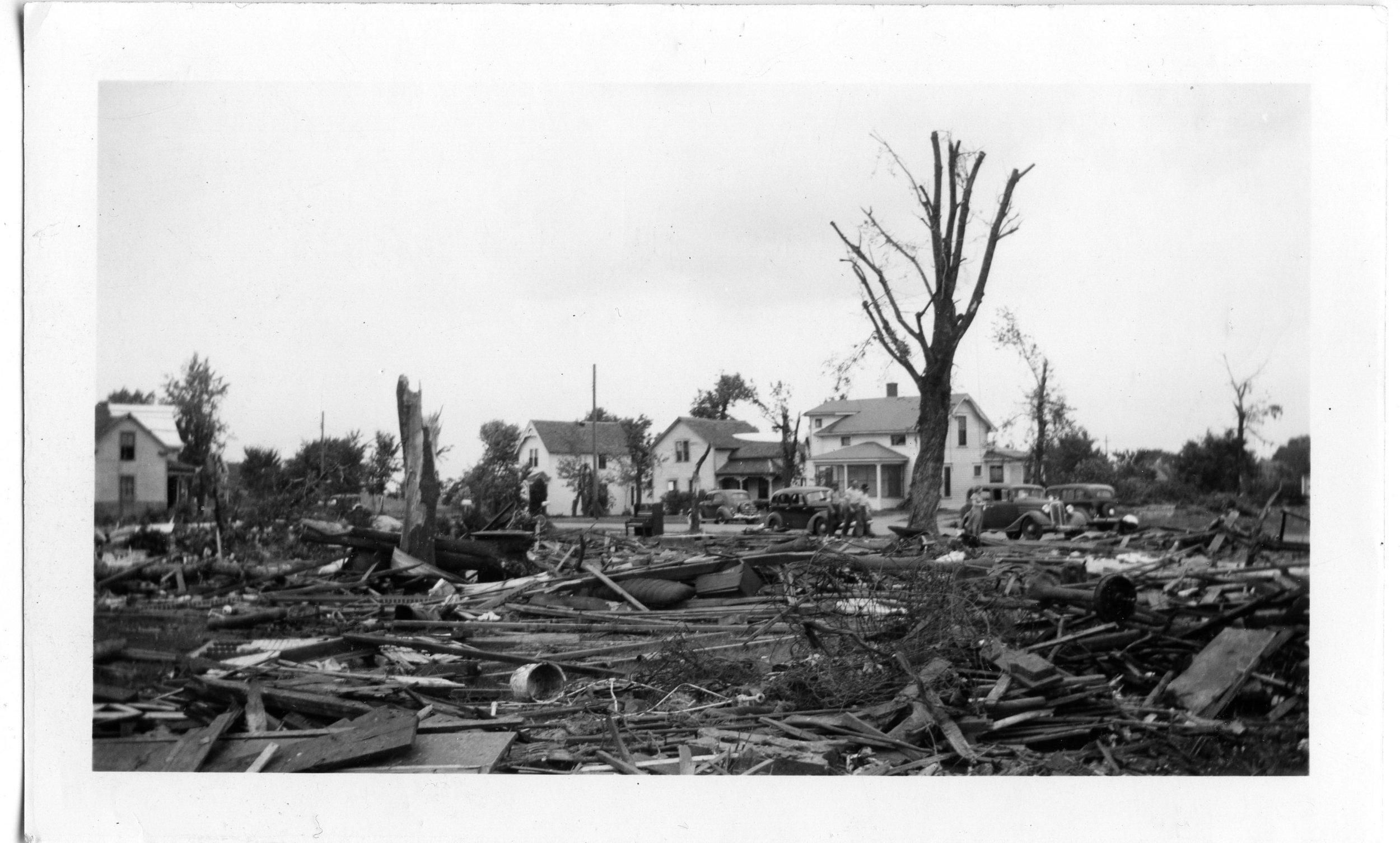 The destruction of the Harrington home.