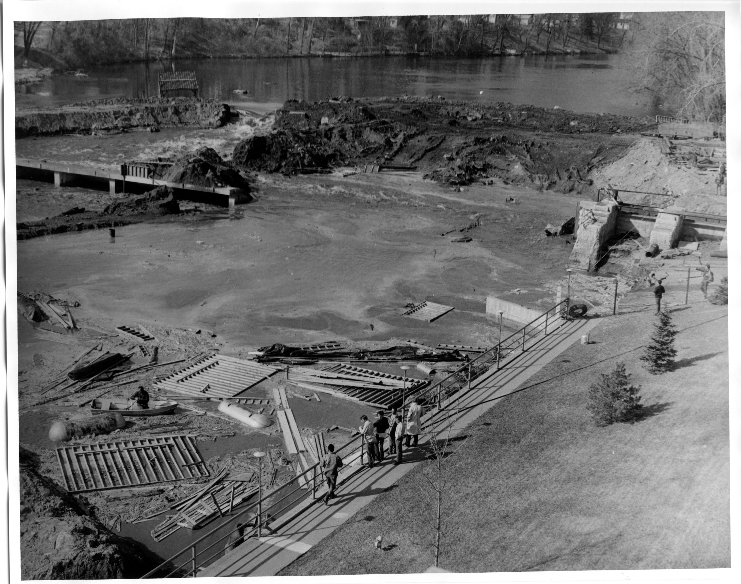 This is one of four photos in the ACHS collection that show the reconstruction of the Rum River Dam in Anoka, probably around 1970. (Object ID 2001.0268.503)