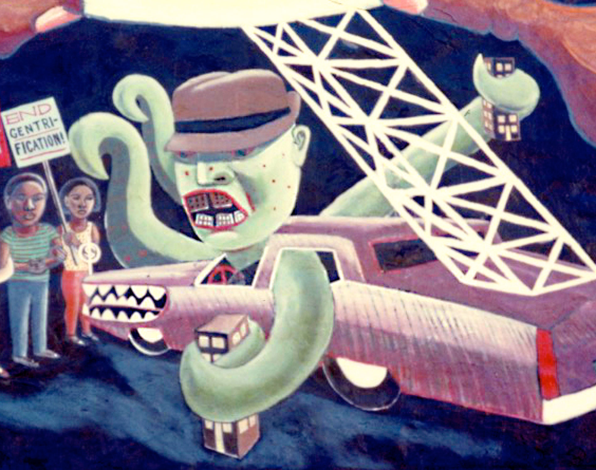 """Octopus Mobster Landlord"" by Keith Christensen, detail from  La Lucha Continua  collective mural   Photo © Camille Perrottet"