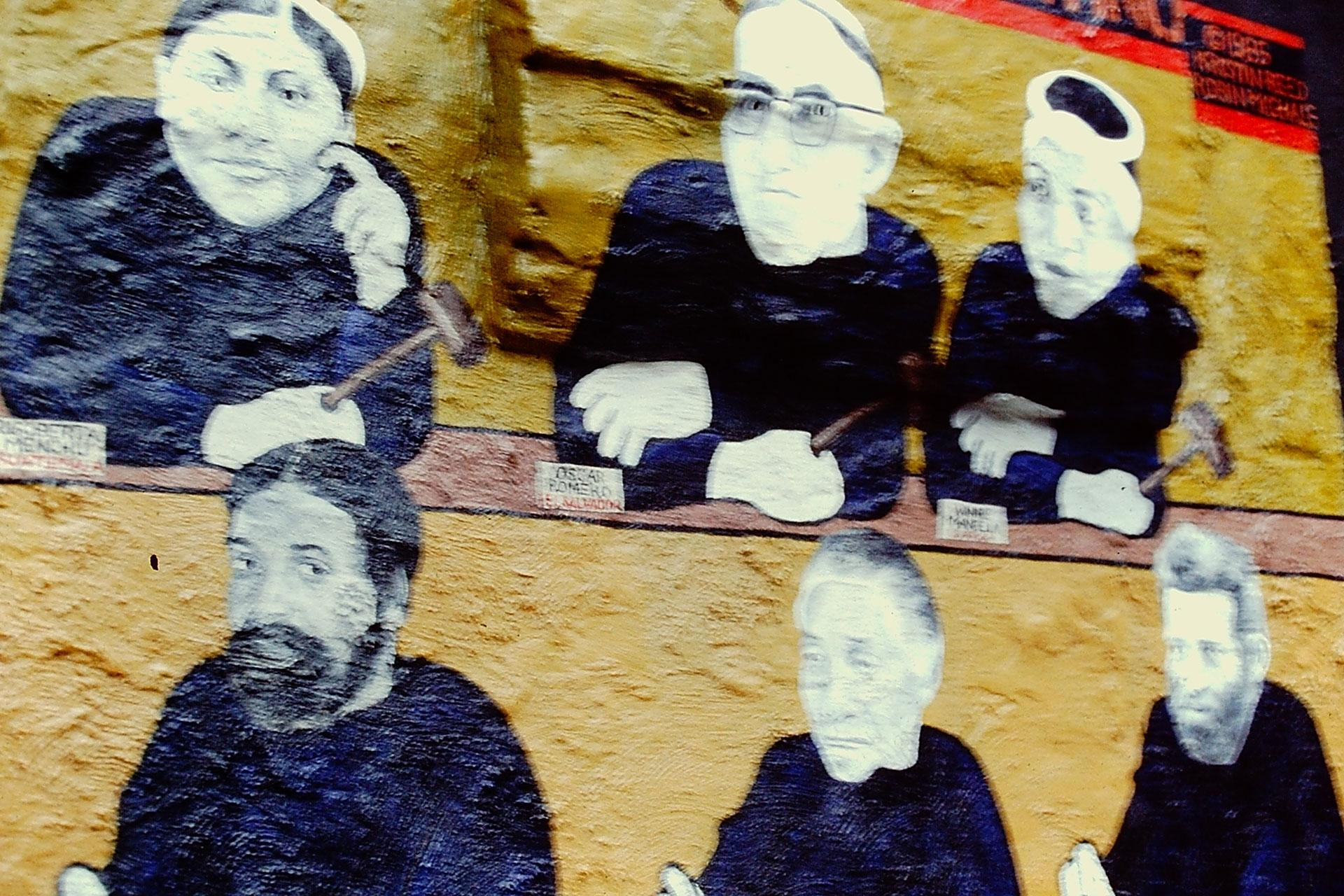 Robin Michals' jurors.  Top from left: Rigoberta Menchú, Oscar Romero, Winnie Mandela Bottom from left: Victor, Augustine, Ralph  Photo © Camille Perrottet