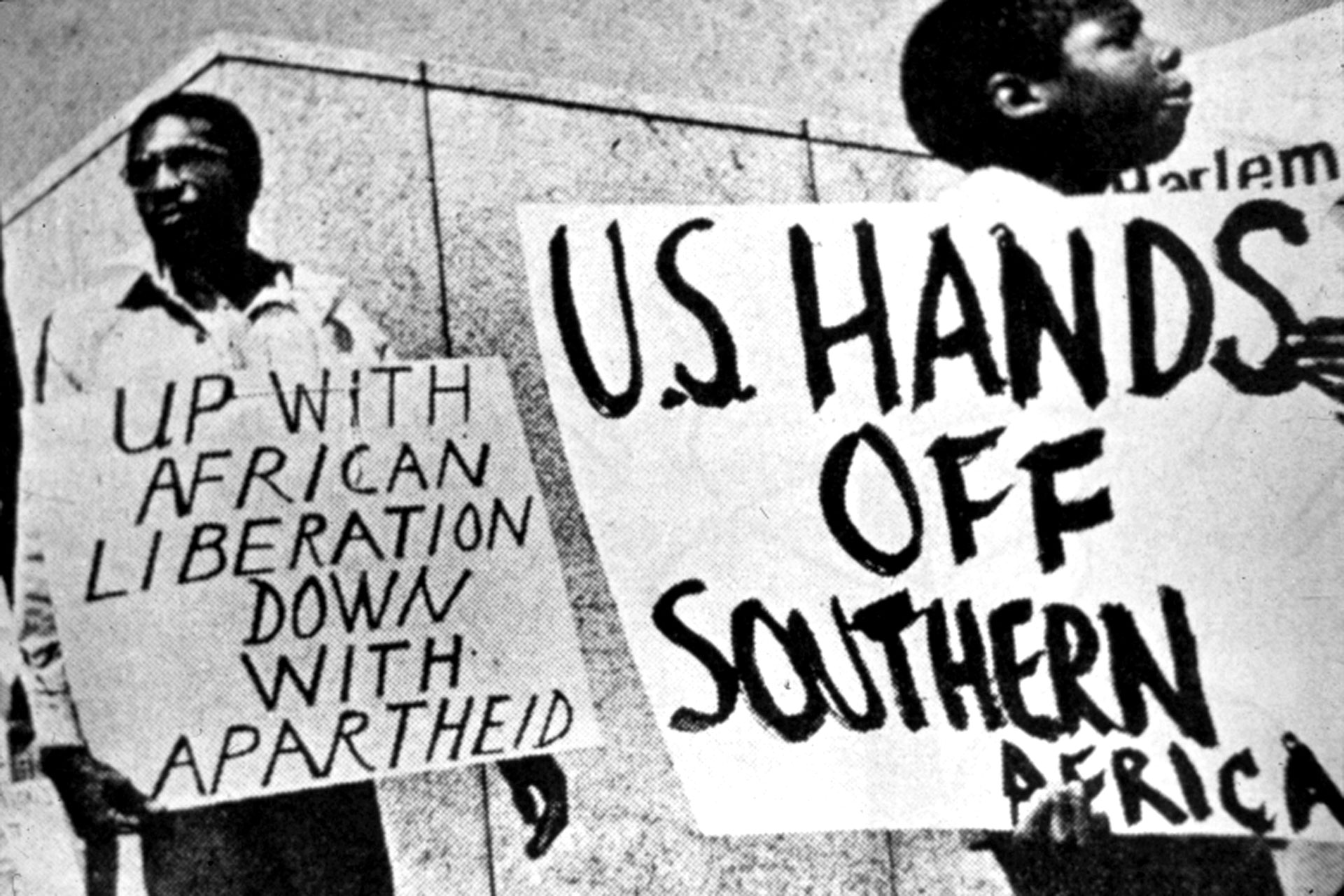 Anti-apartheid rally in Harlem   Photo: source unknown