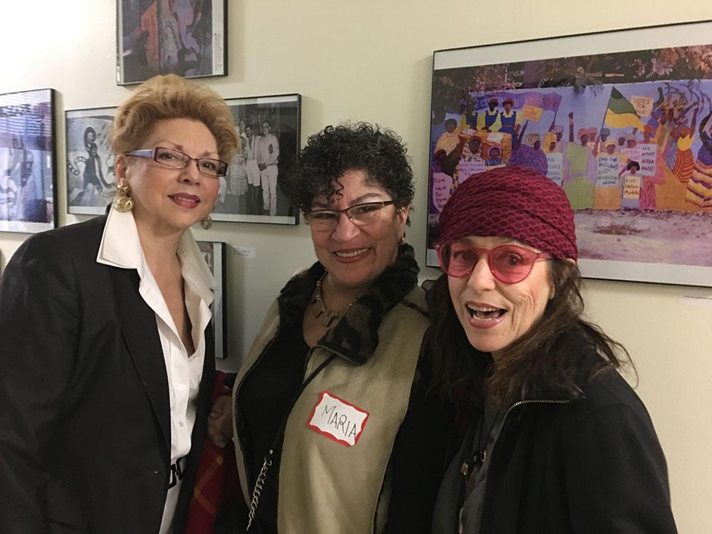 From left ,  Elizabeth Colon, Maria Dominguez, Marilyn Perez Uncal.   Photo © Camille Perrottet