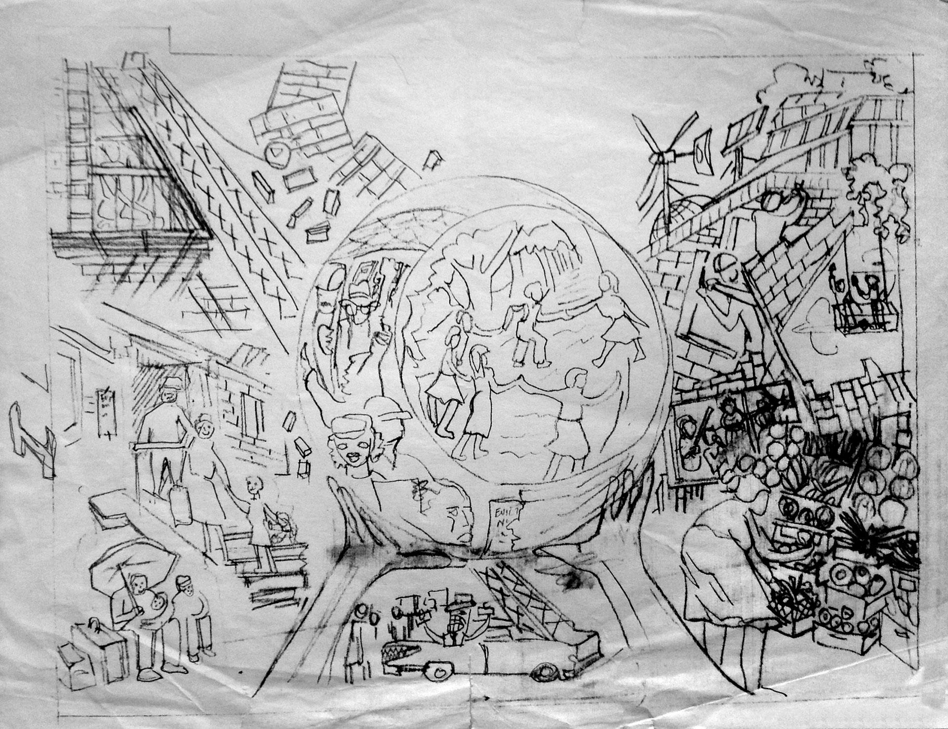 Eva Cockcroft's sketch for the collective mural   Courtesy of Rikki Asher