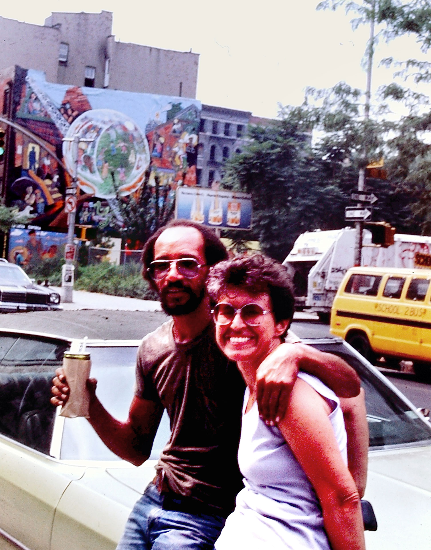 Joe Stephenson and Eva Cockcroft relaxing on NE corner of Avenue C and East 9th Street   Photo © Camille Perrottet