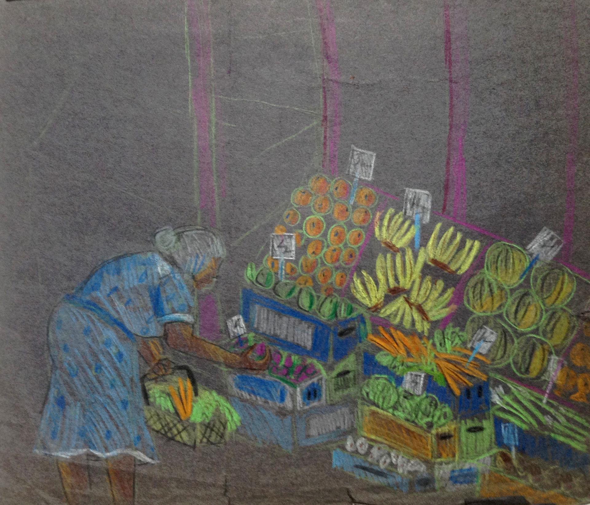 "Rikki Asher's sketch for ""Fruit Stand""   Courtesy of Rikki Asher"