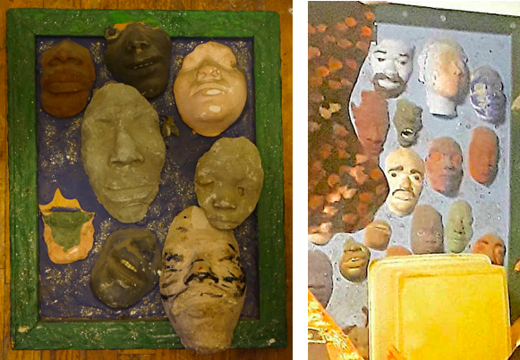 Proposed (left) and final versions of Amir Bey,  Good for One Fare,  plaster-filled molds of friends' and colleagues' faces (Niche 9)
