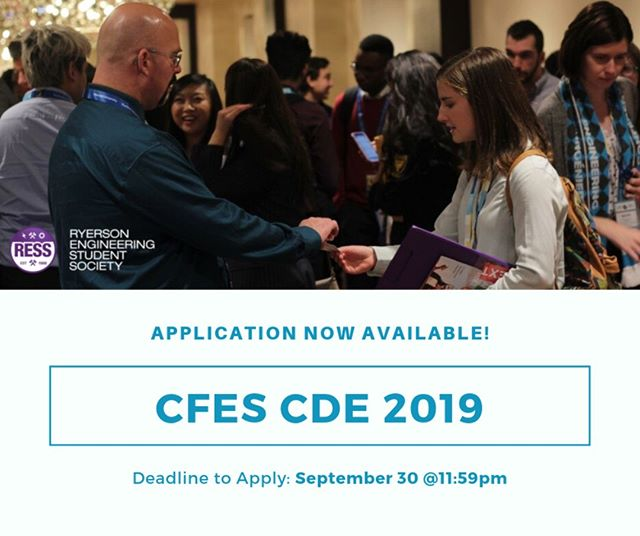 [Conference Opportunity] Link in Bio  Happy Thursday! RESS is organizing a delegation to represent Ryerson Engineering at CFES's Conference on Diversity in Engineering (CDE) 2019.  It will be hosted at the university of Western Ontario in London, Ontario from November 1st to 3rd, 2019.  CDE is a national conference hosted yearly through the Canadian Federation of Engineering Students (CFES). It aims to develop knowledge surrounding the variety of individuals, cultures and perspectives found within engineering communities across the country.  More information and application in bio.  The deadline to submit applications is September 30th 2019 at 11:59pm.  Please reach out to Alessandro Cunsolo at VPX@ress.ca with any questions you may have.
