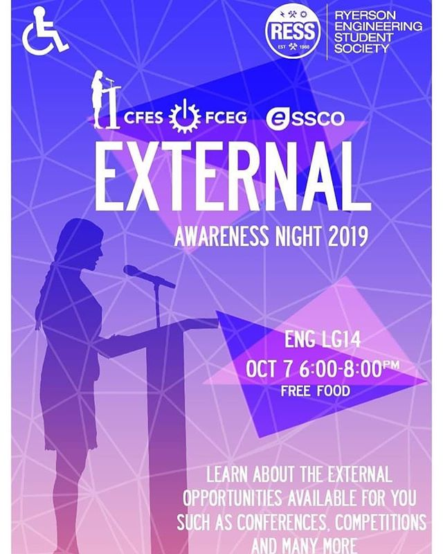 Hey ryEng!! Be sure to come out to our External Awareness Night this Monday October 7th from 6-8pm in ENGLG14!  It's a great chance to expand your knowledge about external opportunities and perfect place to start.  It'll be featuring opportunities like external conferences, organizations, competitions and more!  Food provided, please click the link in bio to register