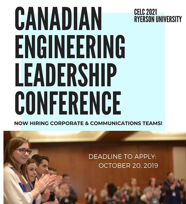 CFES Canadian Engineering Leadership Conference, formally known as Congress, is looking for committee members for Corporate and Communications team! CELC is an annual, bi-lingual, student-run conference that has two primary objectives. The first is that CFES CELC is the annual general meeting of the CFES and the second is that it provides a platform from which students can collaborate with and learn from our industry partners, sponsors and fellow students.  Application link in bio.  There will be opportunities to join the other committees for CELC coming soon!