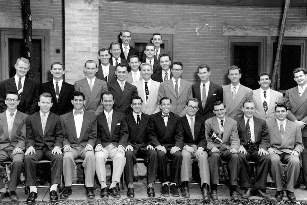 Between 1928 and 1946, the Tejas Club experienced some of its most prosperous years despite the adversities of the Great Depression and the Second World War.  During this period there were at least three Daily Texan editors, four head cheerleaders, four presidents of Alpha Phi Omega, and braves in the Silver Spurs and Friars. As far as student government, the club almost always had one brave involved each year. (At times there were as many as four.) One out of every three Student Association presidents during this period was a Tejas brave. Academically, the Tejas Club was always near the top. In the thirty-two years between 1933 and 1966 when the university monitored GPA of student organizations, the Tejas Club never ranked below sixth place. On eight occasions, the Tejas Club had the highest GPA of any student organization, male or female. This era of incredible academic and political success was not without its share of hard times.  During the thirties the Tejas Club, along with everyone else, had slipped into the depression. At times the club was so stretched for money that they were forced to borrow from a local bank to pay the rent. Between classes, most of the braves worked at least one job to earn extra cash. The Second World War was also a time of extreme difficulty for the Tejas Club. Many of the braves were drafted and at one time the club only registered nine members. Four braves were killed in action serving their country in WWII. Despite the hardships, four Tejas braves served as Student Association president between 1943 and 1947. The United States and the Tejas Club made it through the war but rough times were still ahead.