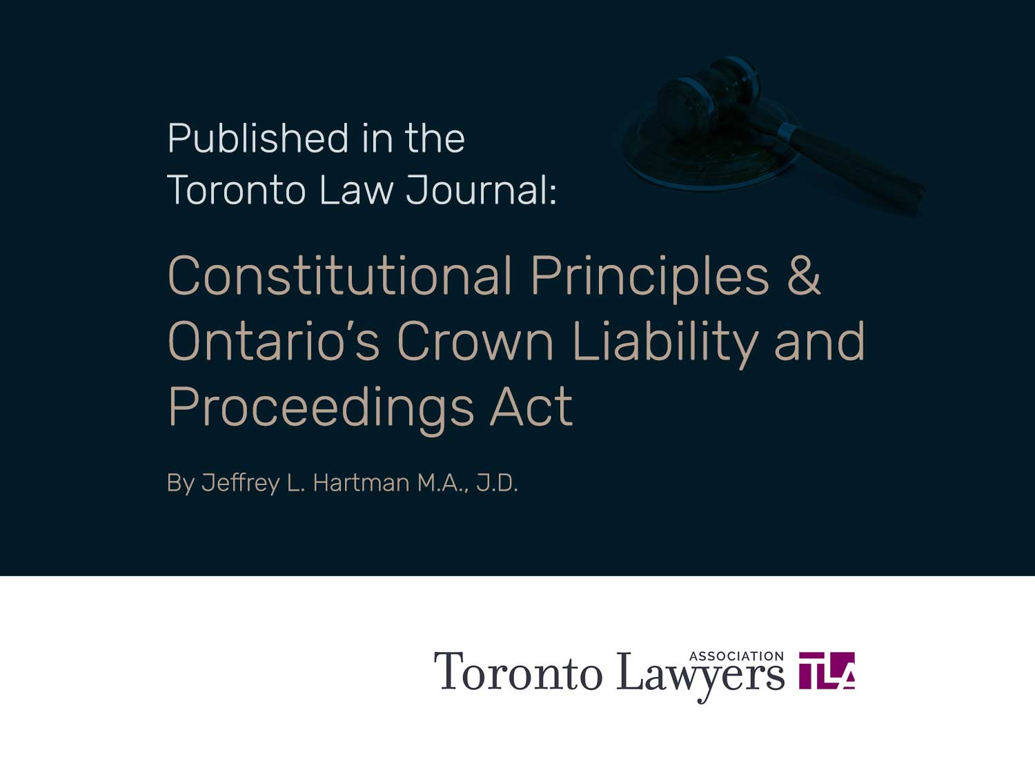 Published in the Toronto Law Journal: Constitutional Principles