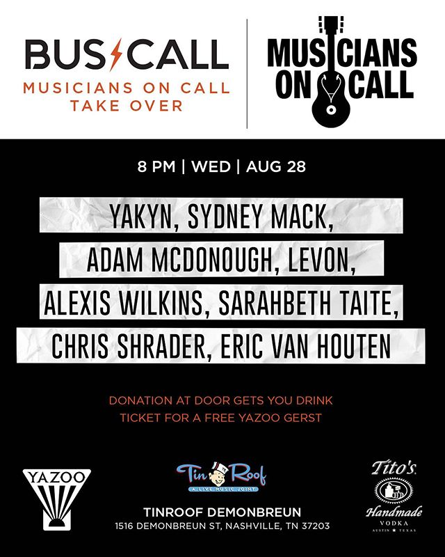 Not just another Wednesday night! This is BUSCALL teaming up with Musicians on Call. We've had the opportunity to work with Musicians on call before and we will never forget it. Don't miss this event, nor these amazing artists performances! . . . @buscallnashville @musiciansoncallfundraiser @musiciansoncall #bandsofinstagram #livemusicrocks #makemusic #musiciansofinstagram #goodcause #wowmusicians #wednesdaynights #tinroof