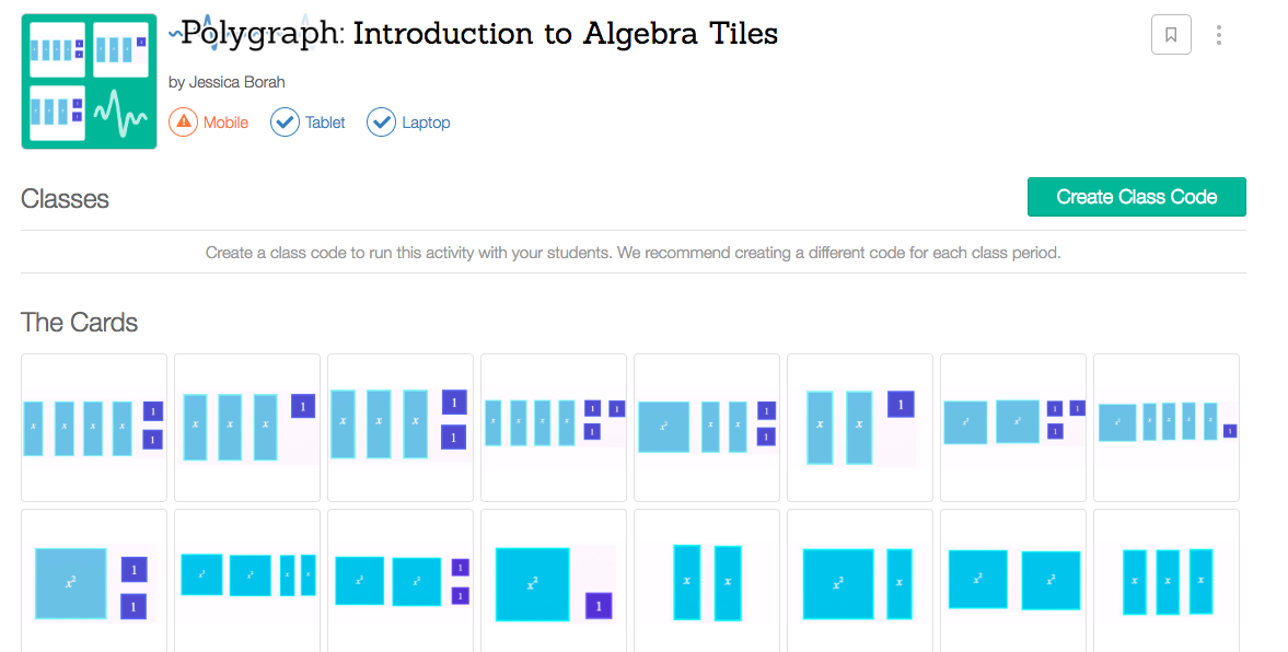Free Practice Resource: Desmos- Polygraph- Introduction to Algebra Tiles - Click on the image to open a Polygraph- Introduction to Algebra Tiles game (created by Jessica Borah).For more information on 'Polygraph,' click on 'learn more.' (You will need to create a free teacher account on Desmos in order to use this resource.)